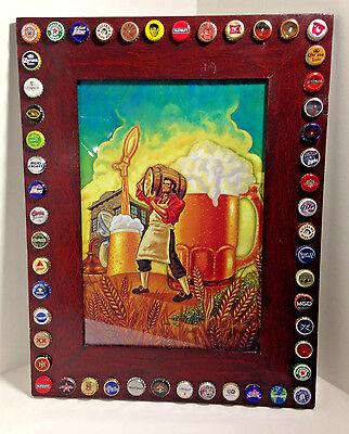 Wood Framed Bottle Cap Folk Art Beer Stein Keg Tavern 24