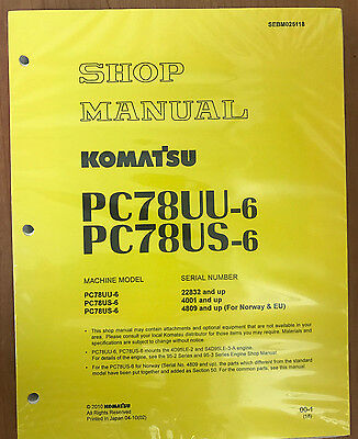 Komatsu Service Pc78us-6 Pc78uu-6 Shop Repair Manual Book