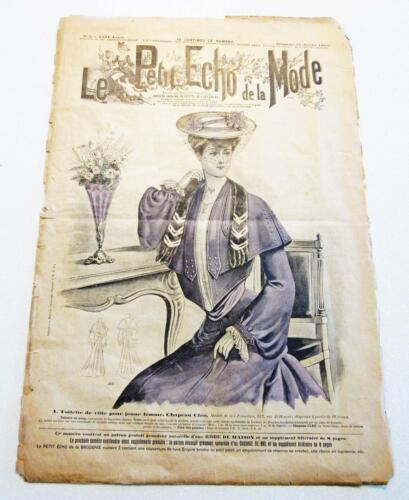 Vintage 1910s French Fashion Magazine Sewing Pattern Supplement Petit Echo 1904