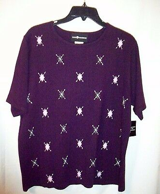 Women's Sag Harbor Sweater Pullover Short Sleeve   Size L
