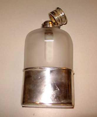 Gorham Silver Co Hip Flask Glass Monogrammed Engraved