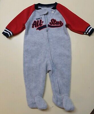 Little Me 3M Long Sleeve Fleece Bodysuit Creeper Footed DADDYS ALL-STAR
