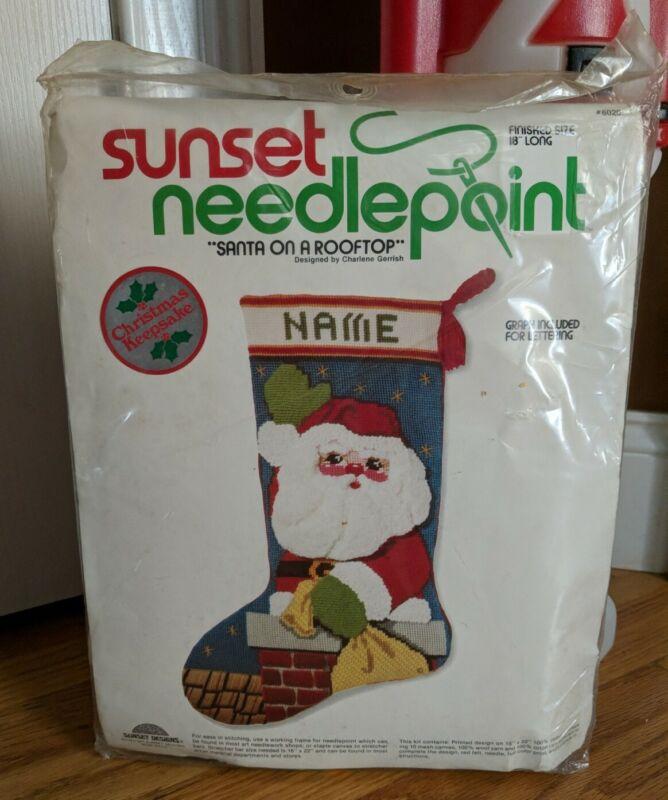 Sunset Needlepoint Stocking Craft Kit SANTA ON THE ROOFTOP Vintage Kit #6020