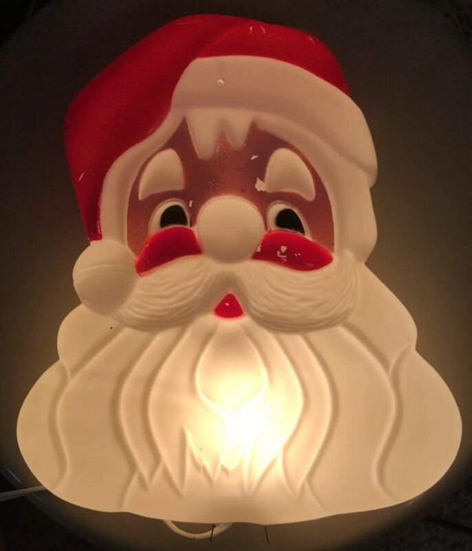 "Vintage Light Up Santa Christmas Plastic 10"" Wall Hanging"