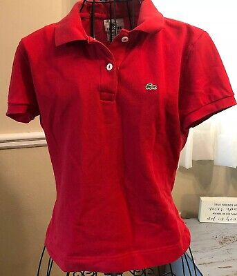 Lacoste Red Short Sleeve Polo Shirt Youth Size 42 US Size Large Red
