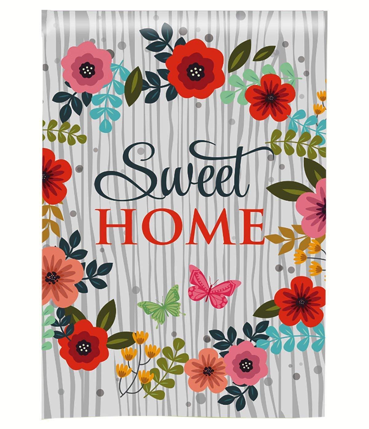 Morigins Sweet Home Flower Butterflies Decorative Double Sid