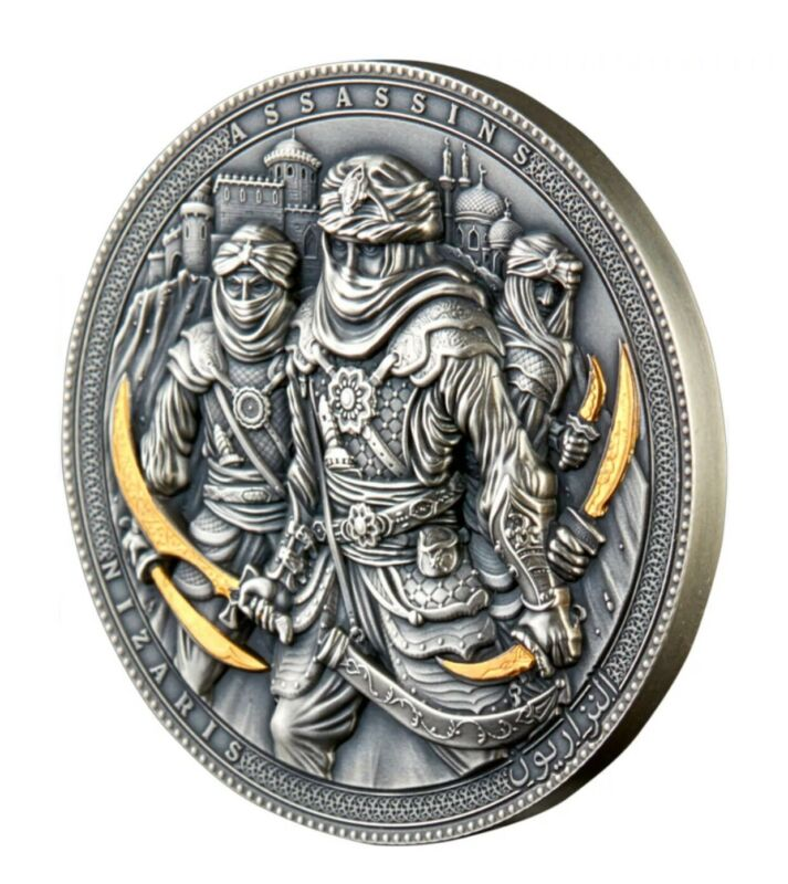 NIZARIS Assassins Gold Plating 2 Oz Silver Antique Finish Coin 5$ Niue 2019 EBUX