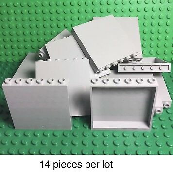Lego 14 Light Bluish Gray 1x6x5 Panel / Medium Stone Gray Wall Parts Pieces Lot