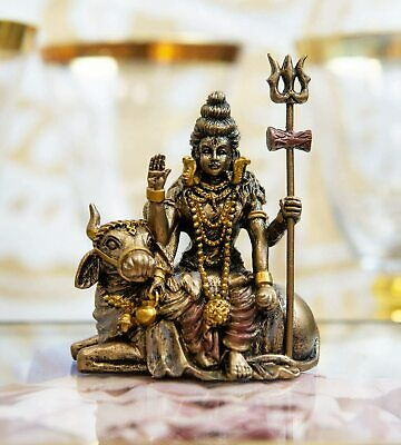 Ebros Vastu Hindu God Lord Shiva Mahadeva Sitting On Nandi Bull Miniature Statue