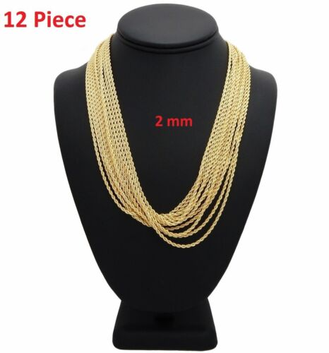 """New 12 Piece Rope Chain Necklace 2mm 20"""" inch 14k Gold Plated Wholesale Lots"""