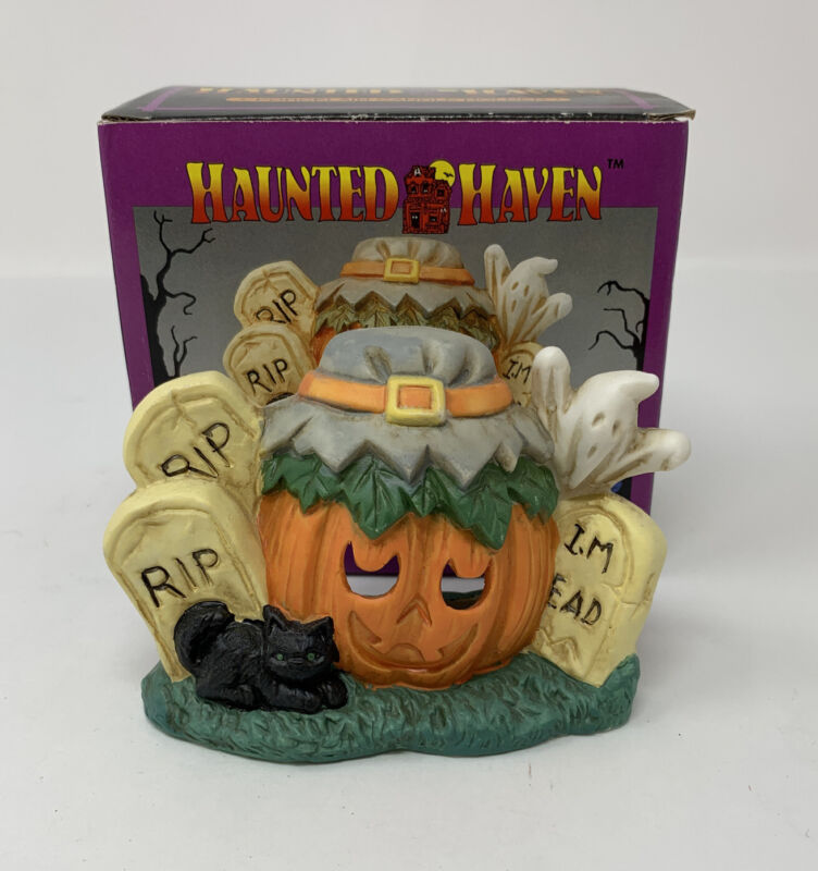 Vintage Haunted Haven Tealight Porcelain Candle Holder Pumpkin Tombstones