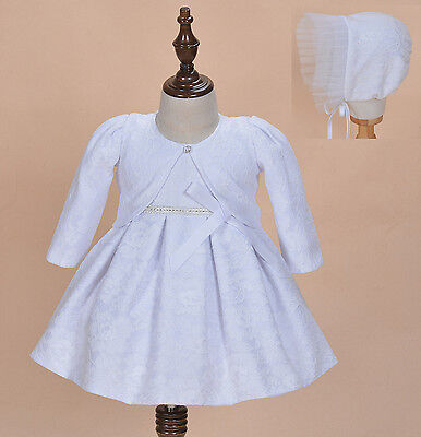 Cinda Baby Girl White Lace Christening Dress with Bonnet and Bolero 6-12 Months