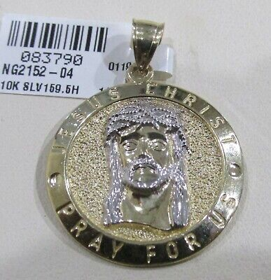 10k Yellow Gold and White Gold Jesus Round Charm Pendant 1.35