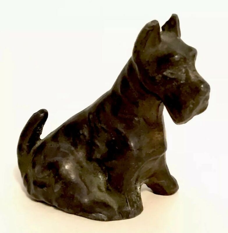 "Metal Sitting Schnauzer Dog Figurine Cast Vintage 2"" Mini Japan Z10"