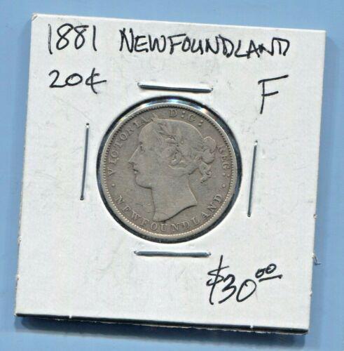 NEWFOUNDLAND - BEAUTIFUL HISTORICAL SCARCE  QV SILVER 20 CENTS, 1881, KM# 4