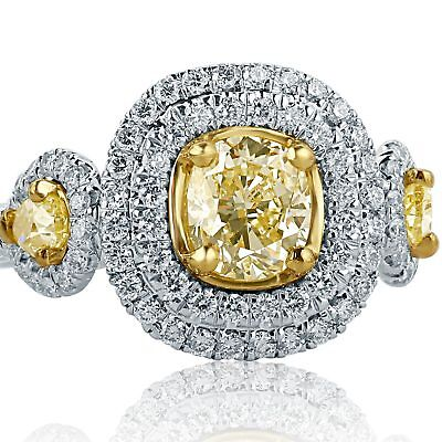 GIA Certified 1.84 Ct Yellow VS2 Cushion Pear Side Diamond Engagement Ring 18k