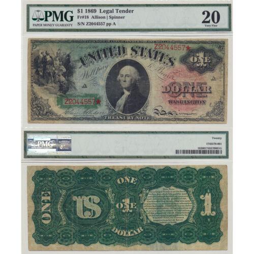 1869 $1 Rainbow Legal Tender Fr#18 PMG Certified Very Fine 20
