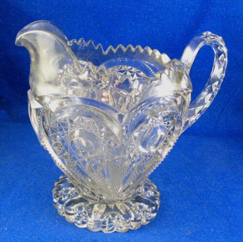 Antique Imperial Pressed Clear Glass Zippered Heart Water Pitcher - Estate