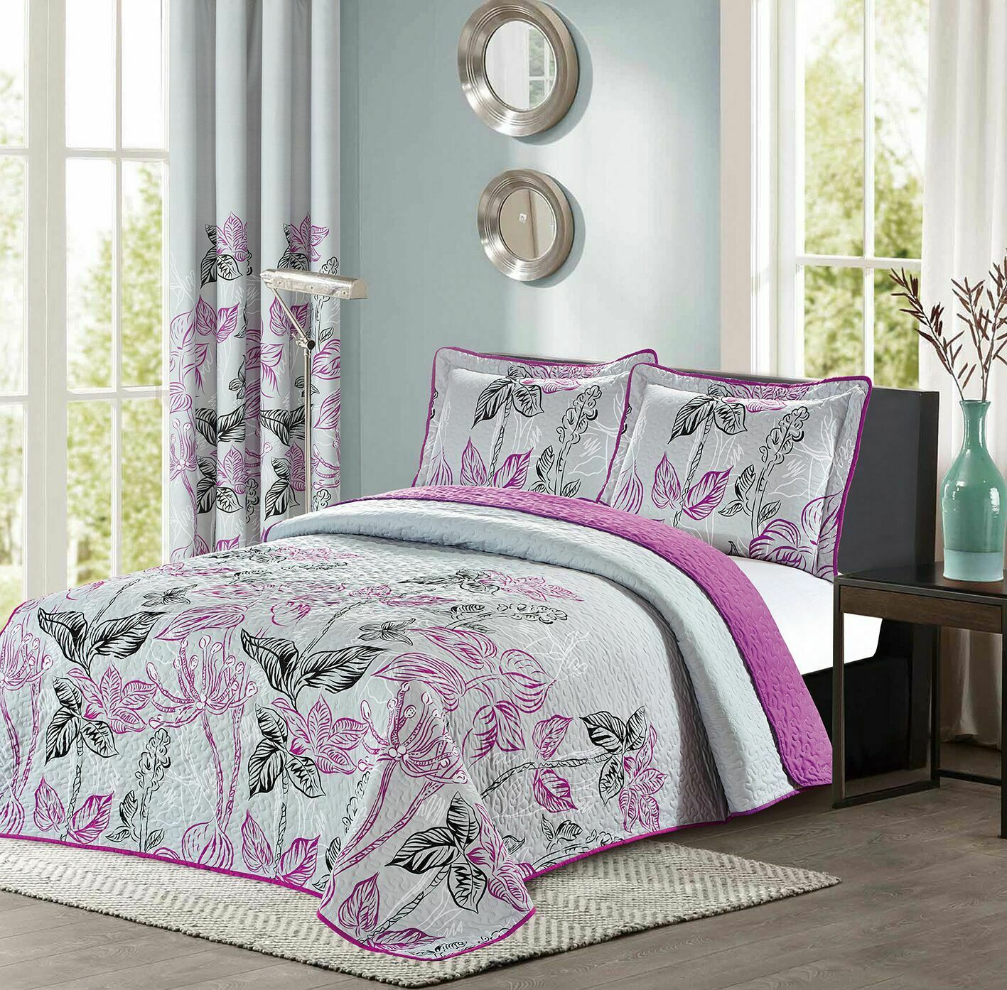 new reversible floral printed bedspread quilt