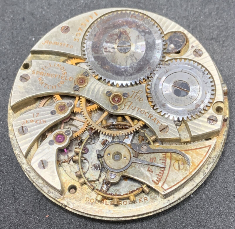 Illinois Autocrat Grade 405 Pocket Watch Movement 12s 17j OF Model 3 Parts F2614