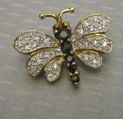 "designer DBS 925 PAVE RHINESTONE BUTTERFLY PIN gold vermeil sterling 1"" brooch"