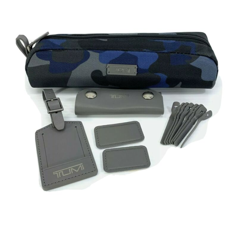 Tumi Blue Camo Accent Kit Leather Luggage Tag Monogram Patch Accessory Pouch