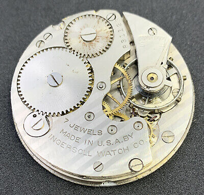 Ingersoll Reliance Pocket Watch Movement 16s 7j Openface Parts Or Repair F5082