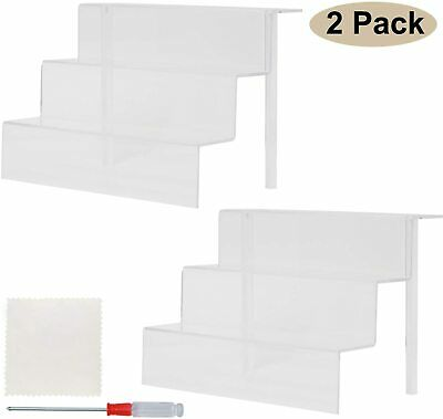2set Clear Acrylic 3-step Solid Display Stairs Riser Shelf Collectible Showcase