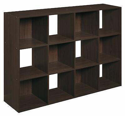 Espresso 12 Cube Bookcase Storage Organizer Wooden Office Shelving Bookshelf ()