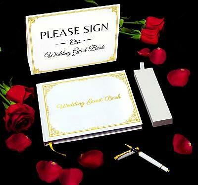 Wedding Guest Book, with Premium Pen Set, and Table Sign. Polaroid Photo Album.