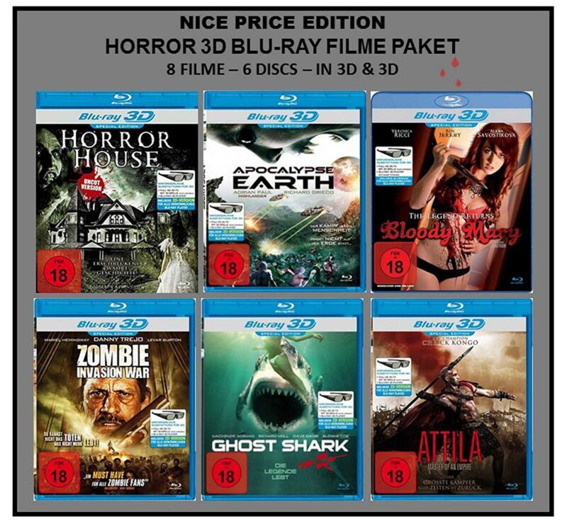 Nice Price Edition: Horror 3D Blu-ray Paket [FSK18] (8 Filme in 2D+3D)