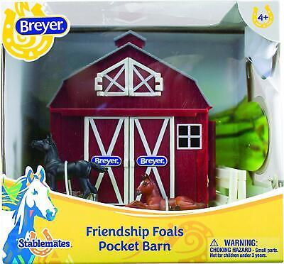 Breyer Stablemates Friendship Foals Pocket Barn Toy Set Red