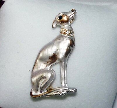 Sitting Greyhound Dog or Whippet Pin, Rhinestone Collar
