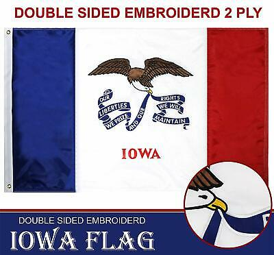 5 Double Sided Polyester Flag (Iowa State Flag 210D Embroidered Polyester 3x5 Ft - Double Sided)