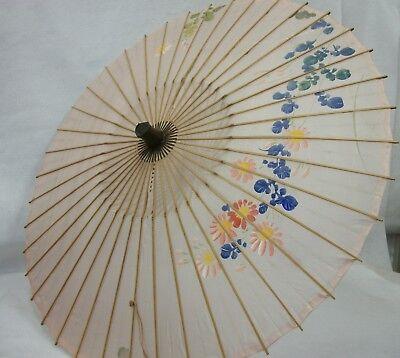 Vintage Hand Painted Asian Silk & Bamboo Umbrella Parasol - Estate Item