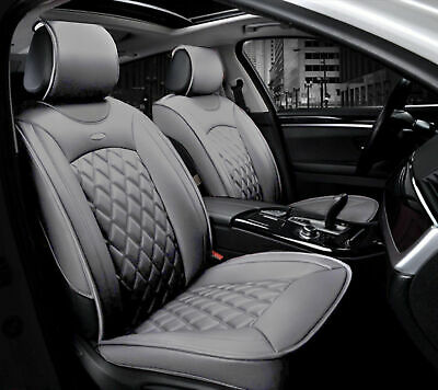 1+1 eleganter Autositzbezug Grau Sitzbezüge Kunstleder Schonbezüge Komfort