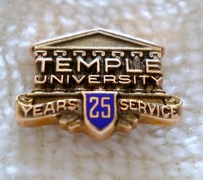 Vintage 10K Gold Temple University 25 Year Service Pin Employee Award College