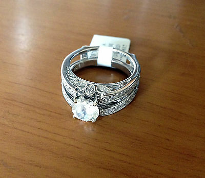 10k White Gold Diamonds Antique Vintage Cathedral Ring Guard Solitaire Enhancer