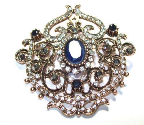Ornate VICTORIAN Regal BROOCH Pin Saphire Glass Stone Rhinestone Rose Gold Metal