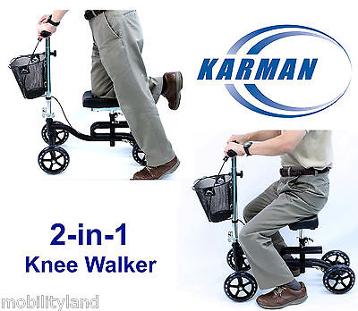Karman Knee Scooter Walker 2-in-1 Leg Exerciser Crutch KW-100-BK Black NEW