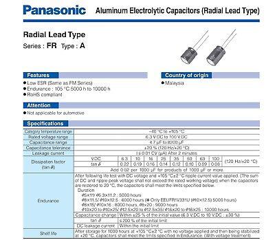 Panasonic Fr Series 470uf 1000uf 2200uf - Ultra Low Esr Capacitor 10v-35v