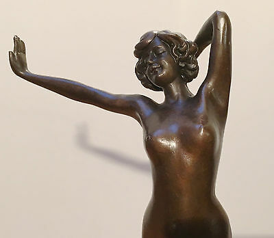 EXQUISITE DECO NOUVEAU NUDE GENUINE PURE HOTCAST BRONZE STATUE SCULPTURE