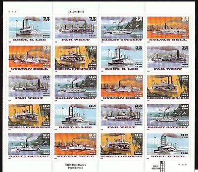 3091-95   RIVER BOAT  NH SHEET OF 20     SPECIAL SALE @ FACE
