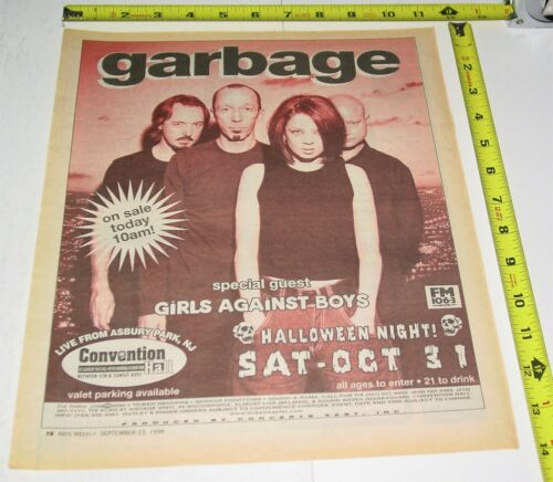 Garbage Shirley Manson Live Concert Ad Advert 1998 Tour Convention Asbury NJ