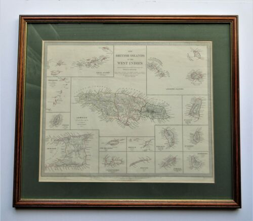 1835 S.D.U.K framed map of the  West Indies ~ Jamaica ~ Trinidad ~ Barbados
