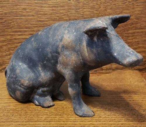 "Large 11""x6"" Vintage Cast Iron Pig Bank"