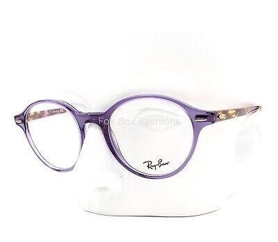 Ray-Ban RB 7118 8020 Round Eyeglasses Glasses Crystal Purple & Havana (Rayban Round Glasses)