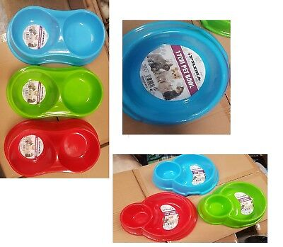 Dog Cat Pets Feeding Bowl Metal Bowls 2 Compartments Home Travel Food Water (Metal Travel Bowl)