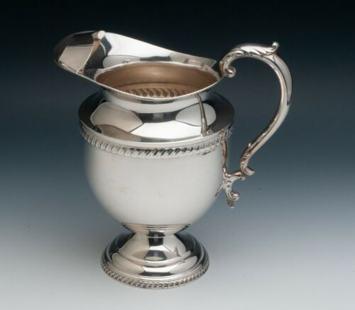 """Poole Sterling Silver Water Pitcher, Gadroon Border, 4.55 pints, 9.75"""""""