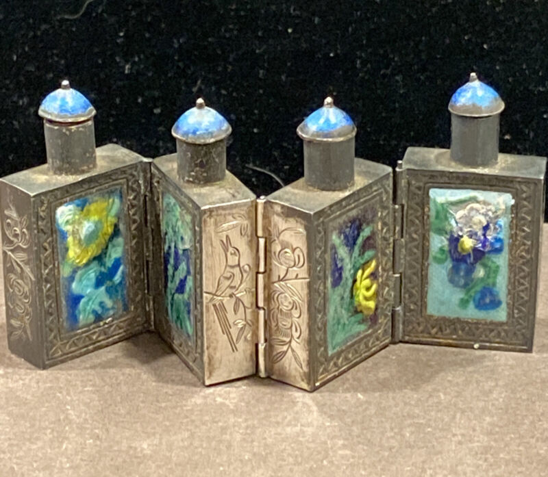 ANTIQUE CHINESE enamel silver color conjoined hinged SNUFF bottle